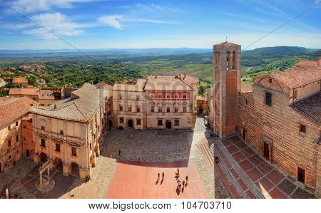Montepulciano town panorama in Tuscany, Italy. Historic city center. View from Communal Palace on La Cattedrale di Santa Maria Assunta