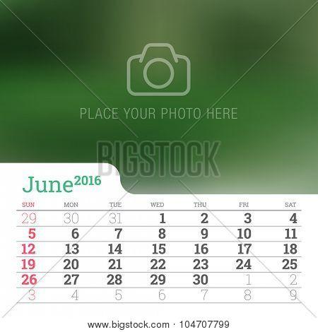 Calendar 2016 Vector Design Template.