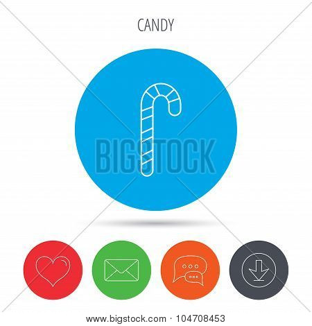 Candy cane icon. Sweet sugar lollipop sign.