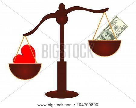 Love vs Money concept - Love wins - Vector
