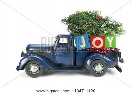 Christmas background. Pickup with christmas decoration