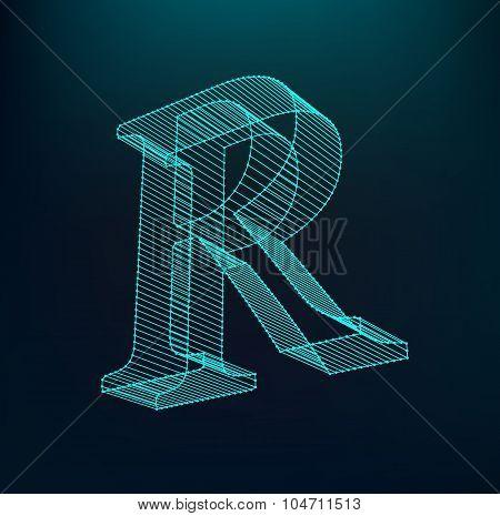 Fonts of Mesh polygonal. Wire frame contour alphabets.