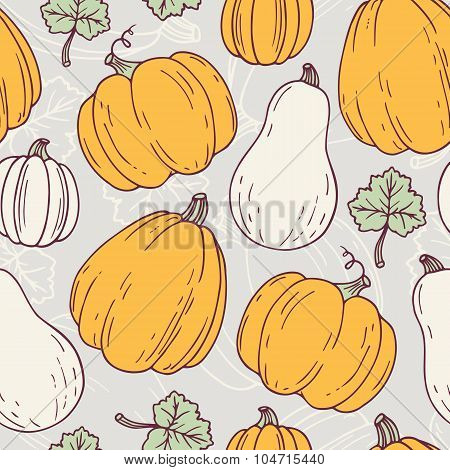 Hand drawn halloween seamless pattern with pumpkins and leves