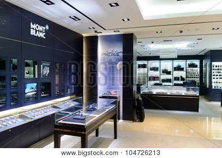 KUALA LUMPUR, MALAYSIA - APRIL 23, 2014: Mont Blanc store interior in Suria KLCC shopping mall. Suria KLCC is one of the largest shopping malls in Malaysia