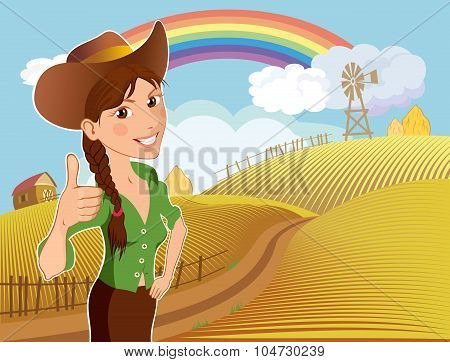 Farm Girl Cartoon Character