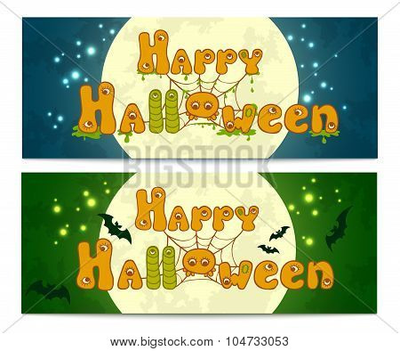 Two halloween banners with full moon, bats and with cute funny hand drawn letters