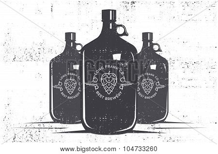Beer bottles and logo  on a  grunge background. Stock vector.