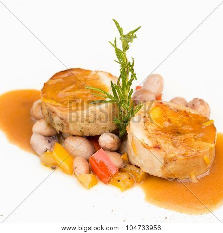 Rabbit Stuffed With Wild Mushrooms, Served With Sauted Haricot Beans