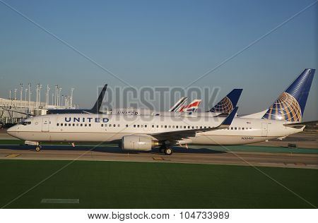 United Boeing 737 aircraft taxing at O'Hare International Airport in Chicago