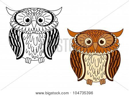 Brown and colorless cartoon owl birds