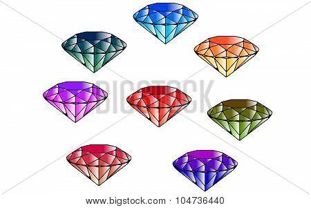Color Emeralds. Eight Diamonds. Cut Gems. Cartoon Style. poster