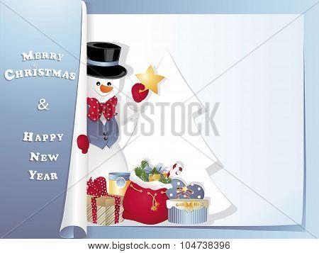 Christmas Card Snowman With Star
