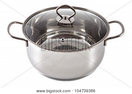 Shining Stainless Steel Soup Pan, Coated With A Lid Glass.