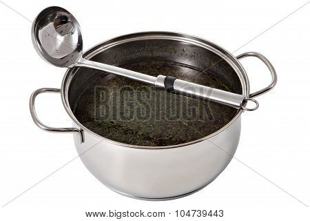 Saucepan With Chowder And Dipper Made Of Stainless Steel