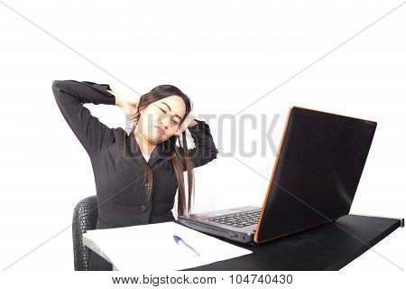 Asian Businesswoman Stretch Oneself In Office