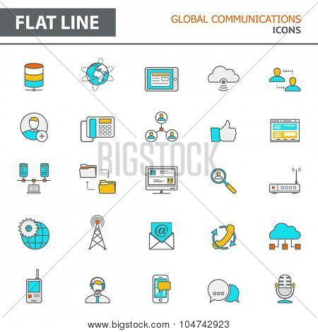 Set of modern simple line icons in flat design. Trendy infographic global communication concept elements for banners, layouts, corporate  brochures, templates and web sites. Vector eps10 illustration