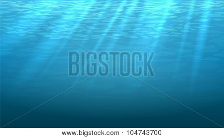 Empty underwater blue shine abstract vector background