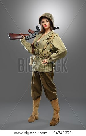 Girl Soldier With Tommy Gun