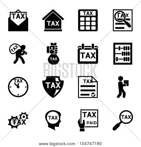 Tax and finance icons vector set