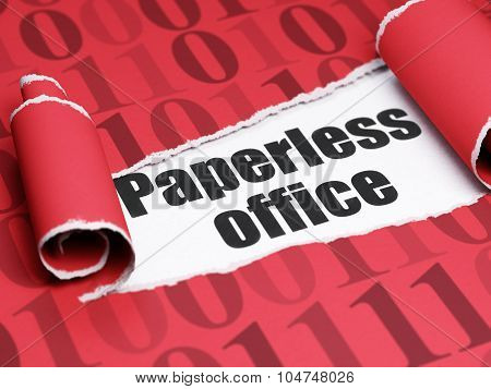 Business concept: black text Paperless Office under the piece of  torn paper