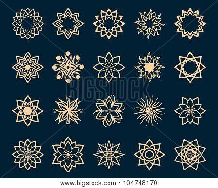 Abstract lotus geometric symbols