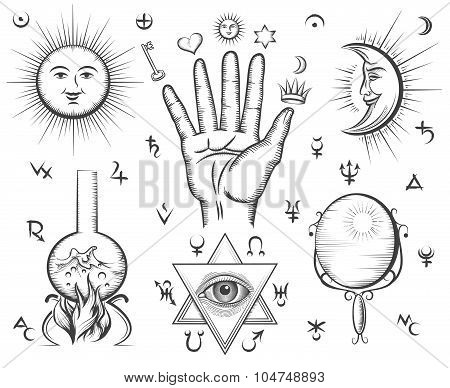 Alchemy, spirituality, occultism, chemistry, magic tattoo vector symbols