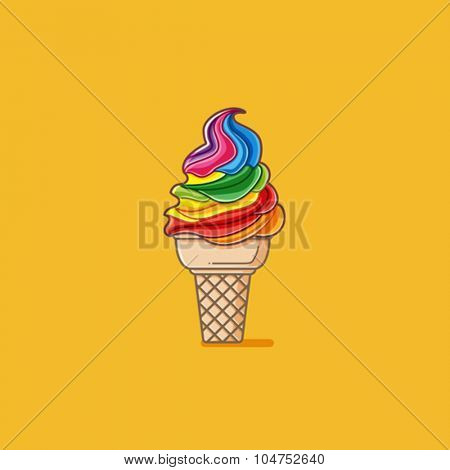 Rainbow colorful ice cream cone
