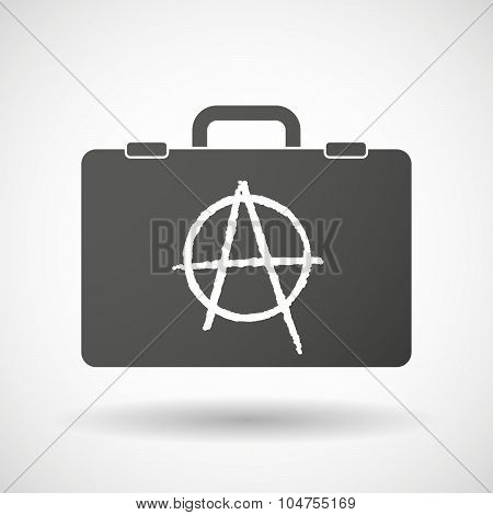 Illustration of an isolated briefcase icon with an anarchy sign poster