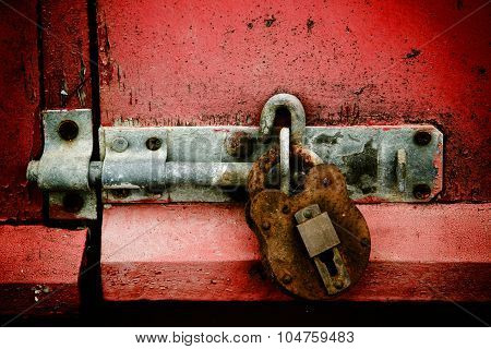 Padlock On Red Background