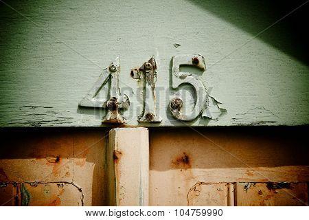 Distressed Metal Numbers On Beach Hut