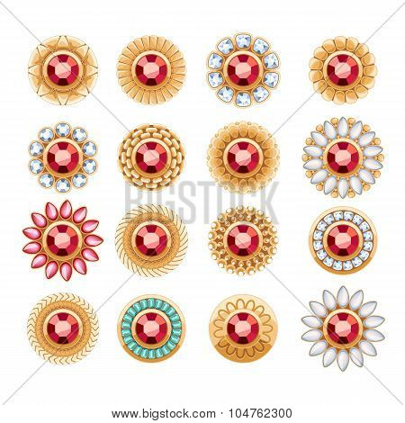 Elegant rubies gemstones vector jewelry round buttons rivets decorations set. Ethnic floral vignettes. Good for fashion jewelry store design logo. poster