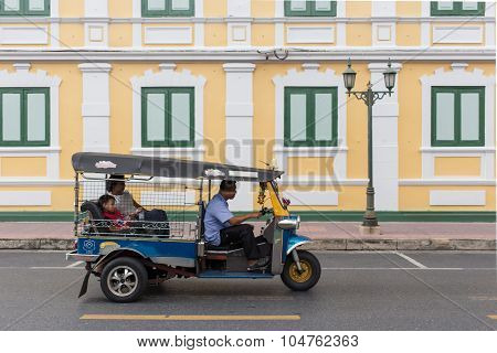 Taxi With Yellow Wall