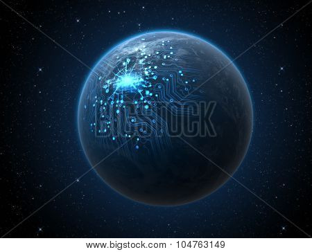 Planet With Illuminated Network
