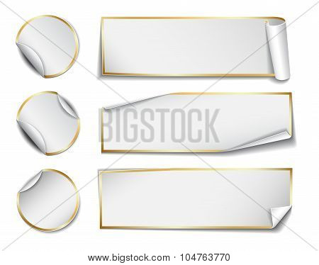 Set of white rectangular and round paper stickers