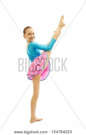 Young  Girl Doing Gymnastics Exercises