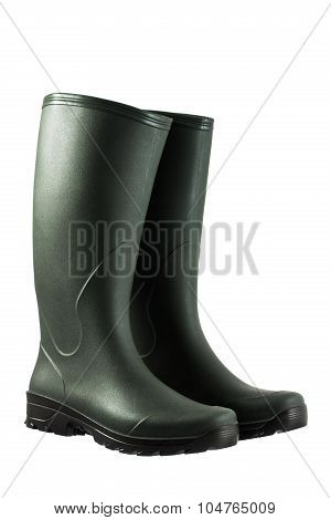 Green Rubber Boots Isolated On White Background