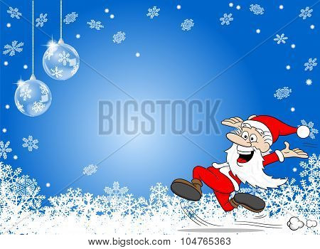 Abstract Blue Snowflake Background With A Cartoon Santa Claus