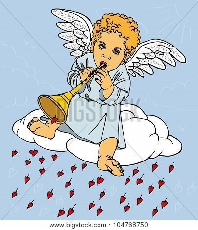 Angel With Pipe On Cloud