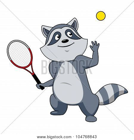 Cartoon raccoon tennis player character
