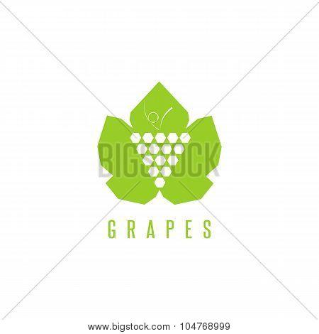 Grapes Logo Winemaking Mark, Bunch Of Grapes On A Green Leaf Mockup Design Element For Wine Emblem