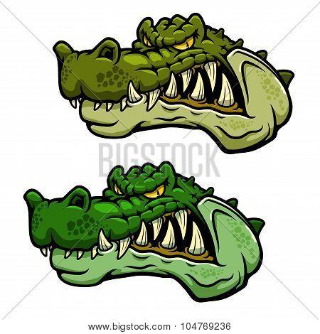 Crocodile character head with bared teeth