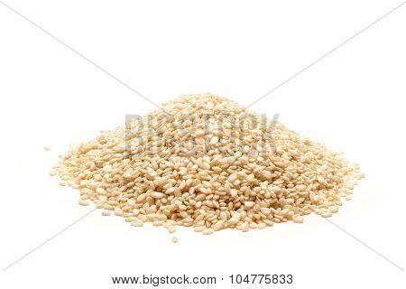 Pile of Organic Sesame white.
