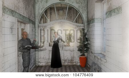 an interior of asylum with people