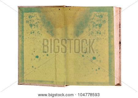 Old Blank Open Book Isolated On White
