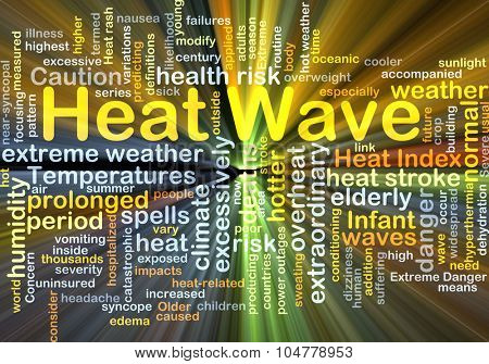 Background concept wordcloud illustration of heat wave glowing light