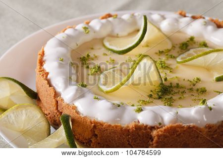 Beautiful Key Lime Pie With Whipped Cream And Peel Close-up