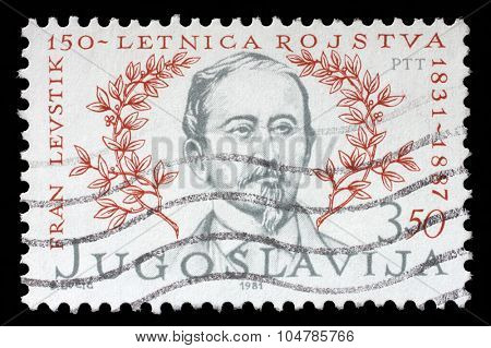 YUGOSLAVIA - CIRCA 1981: a stamp printed in Yugoslavia shows The 150th anniversary of the Birth of Franc Levstik(1831-1887) Slovene writer, political activist, playwright and critic, circa 1981.
