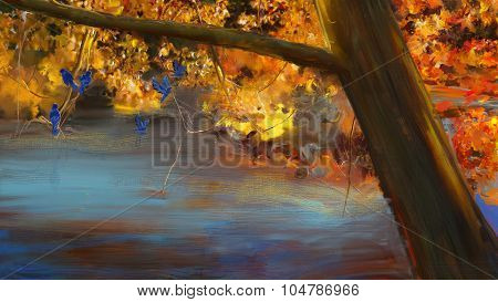 Fall trees with blue birds.