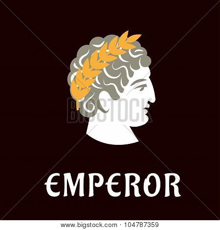 Roman emperor Julius Caesar in wreath