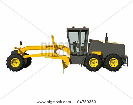 Grader. Construction machinery. Three-dimensional model of a construction machine. Raster illustrati